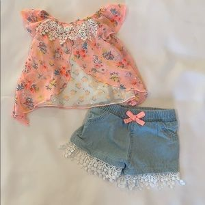 Baby Girl Blouse and Denim Shorts